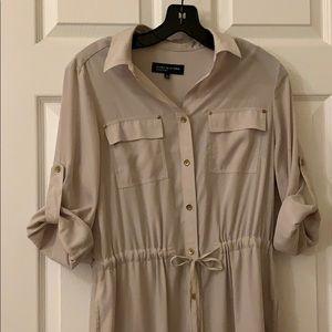 jones new york signature beige shirt dress !